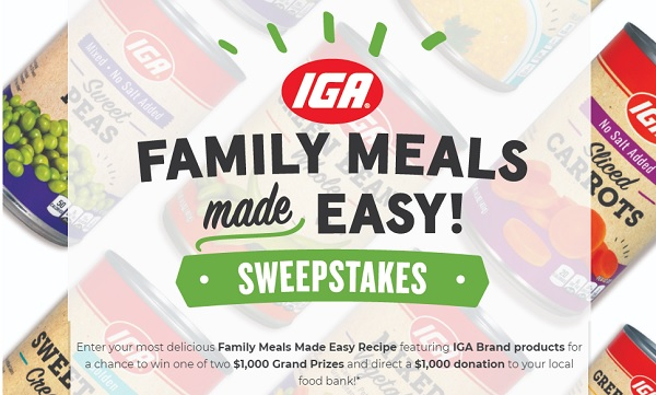 IGA Family Meals Made Easy Sweepstakes 2020