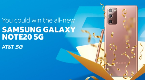 AT&T Thanks Sweepstakes 2020: Win Samsung Galaxy Note20 5G