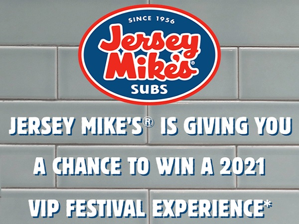 Jersey Mikes VIP Festival Flyaway Sweepstakes 2020